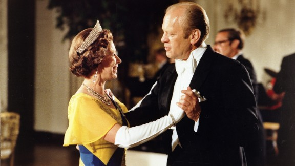 Gerald Ford: Ford and the Queen dance during a state dinner at the White House in 1976.