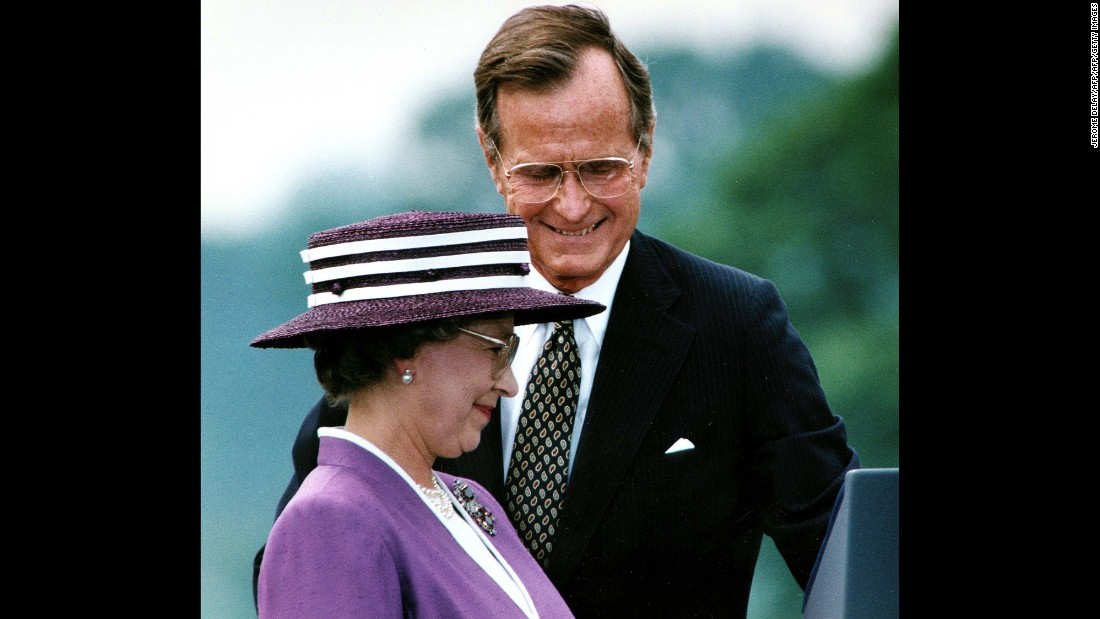 "George H. W. Bush<br />Years in office: 1989 - 1993<br />Former President George H.W. Bush visited the Queen at Buckingham Palace in 1989 while in May 1991, she was guest of honor at a state dinner in the White House. The pair exchanged toasts about the legacy of human rights and the rule of law bequeathed upon the United States by Great Britain. Meanwhile, the Queen spoke about her previous visits to the White House, and the history of diplomatic relations between the two countries. Bush said during his welcome address: ""We have got a lot of things in common. Americans share the Queen's love for horses ... Most of all what links our countries is less a place than an idea. The idea that for nearly 400 years has been America's inheritance and England's bequest. The legacy of democracy, the rule of law and basic human rights.""<br />"