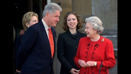 "Bill Clinton Years in office: 1993 - 2001 Bill Clinton met the queen more than once during his tenure, taking tea with her at Buckingham Palace in 2000 and also at a service to mark 50th anniversary of the D Day landings in Normandy in 1994. He recalled the occasion fondly saying: ""She's a highly intelligent woman who knows a lot about the world ... I always marvel when we meet at what a keen judge she is of human events. I think she's a very impressive person. I like her very much."" During a trip to Europe in 2000, Clinton said he drank a little coffee as they talked while first lady Hillary Rodham Clinton sipped tea. The president said he noticed that although her hair had turned gray, she had what he described as, ""youthful eyes."" ""She has these baby blue eyes just piercing,"" he said."