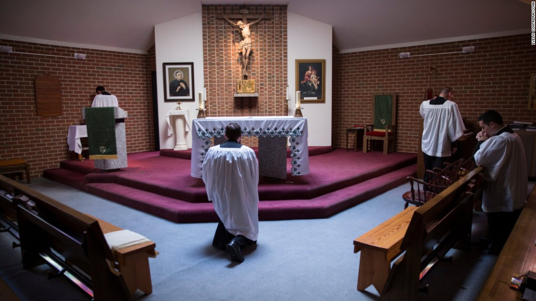 The men, who hope to become priests someday, rotate responsibilities each week in their chapel during daily Mass.