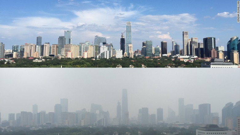 This Photo Shows Two Images Of The View From Cnns Beijing Bureau