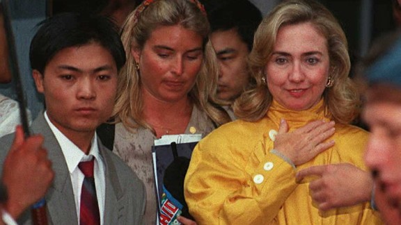 U.S. First Lady Hillary Clinton arrives at the site of the Women's NGO Forum to deliver a speech on September 6, 1995 in Huairou, China.