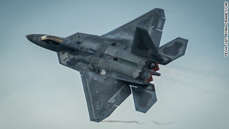 An F-22 Raptor takes off from Ämari Air Base, Estonia, Sept. 4, 2015, following a brief forward deployment. The F-22s have previously deployed to both the Pacific and Southwest Asia for Airmen to train in a realistic environment while testing partner nations' ability to host advanced aircraft like the F-22. The F-22s are deployed from the 95th Fighter Squadron at Tyndall Air Force Base, Florida. The U.S. Air Force routinely deploys aircraft and Airmen to Europe for training and exercises. (U.S. Air Force photo/ Tech. Sgt. Ryan Crane)