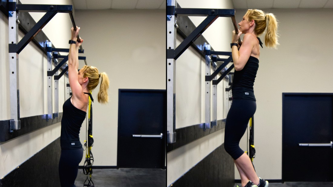 A chin up is a pulling movement that promotes strength in the arms, shoulder girdle, upper back and core. Make it  a goal to perform at least one unassisted, full range-of-motion, chin up.