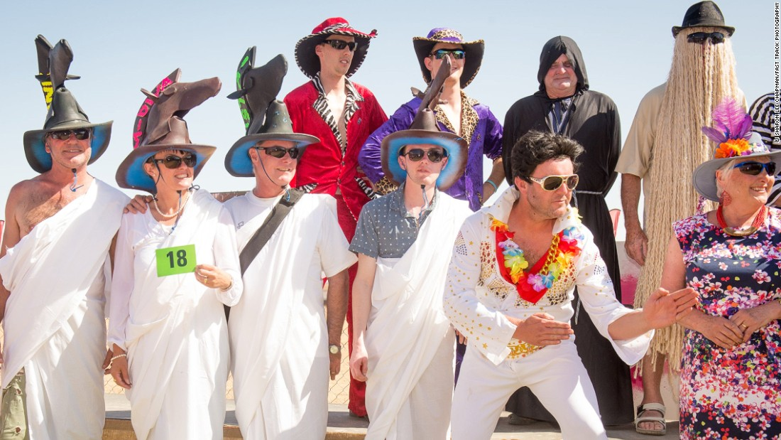 It's not something you'd see at Royal Enclosure at Ascot but Birdsville is a place where Elvis impersonators and men in black trilby hats can really let their hair down.