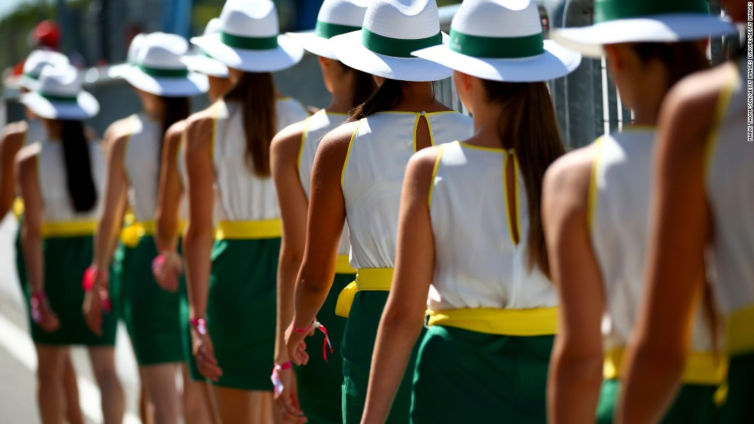 Grid girls -- a permanent feature of every F1 grand prix -- file down to the drivers' parade prior to the start of the race.