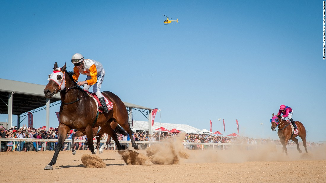 Iron Meteorite ridden by James Geppert (left) wins the 2015 Birdsville Cup.