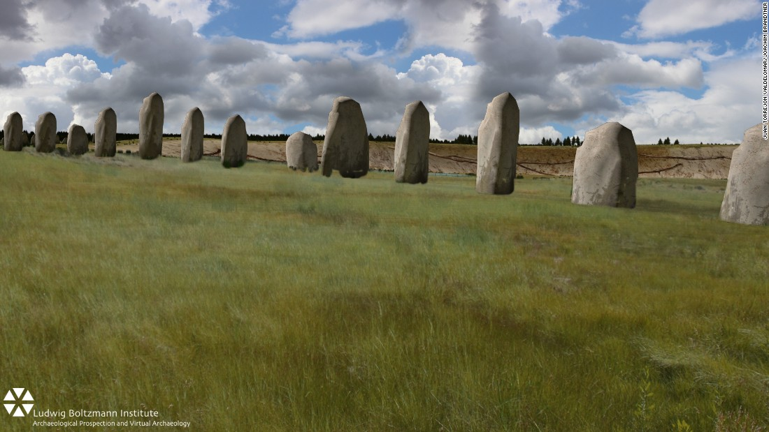 The following images show an impression of how the newly discovered stones may have appeared, believed to have been built before or during the time Stonehenge was erected.