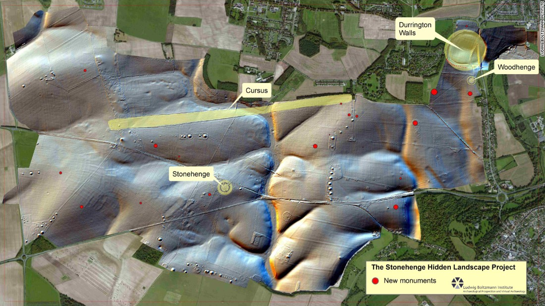 The map shows the site of the discovery. Archaeologists say the traces of larger stone monuments were discovered less than 3km from Stonehenge.
