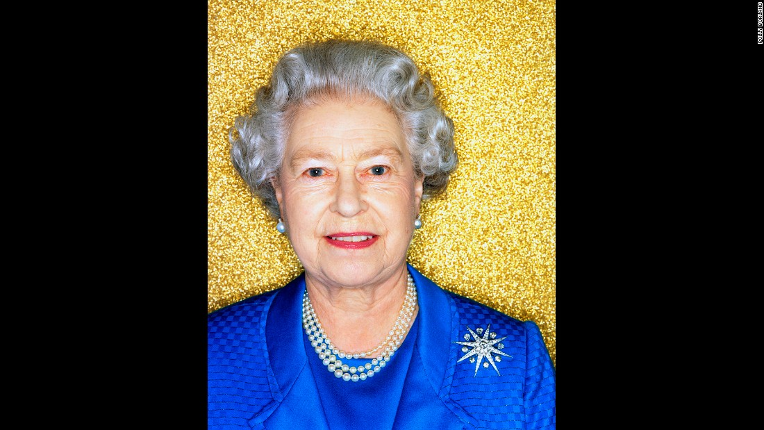 Britain's Queen Elizabeth II poses for her official Golden Jubilee portrait in November 2001. Photographer Polly Borland was commissioned for the shoot.