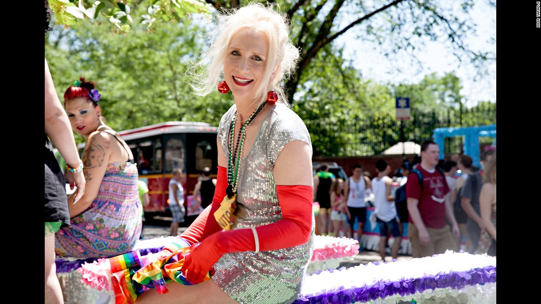 Delia poses at the 2014 Pride Parade Festival with the Chicago Gender Society.