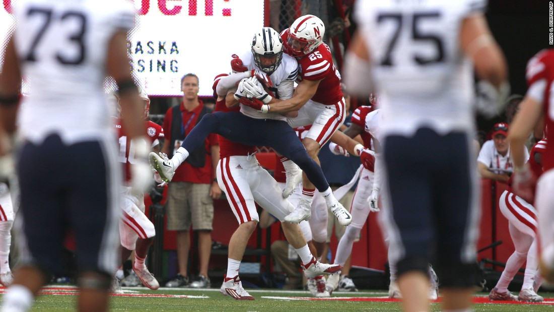 "BYU wide receiver Mitch Mathews pulls down a ""Hail Mary"" pass, scoring the game-winning touchdown as time expired Saturday, September 5, at Nebraska. It was one of the most exciting finishes of college football's opening weekend."