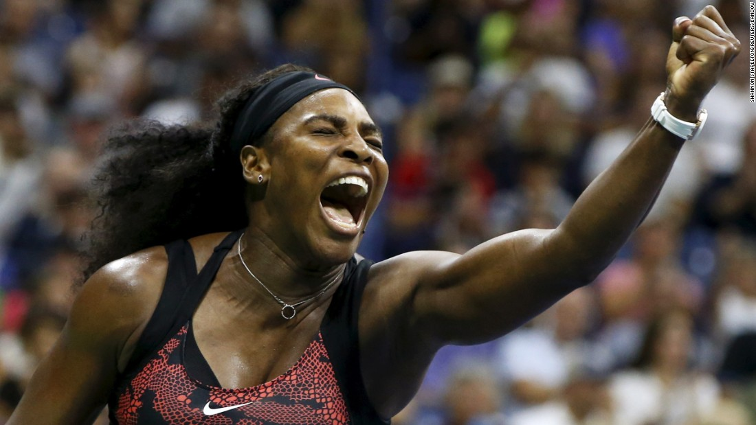 Serena Williams shouts during her U.S. Open victory over Bethanie Mattek-Sands on Friday, September 4. Williams dropped the opening set but rallied to win the next two and move on to the fourth round. She is aiming to win all four major tournaments in one season. She has already won the Australian Open, the French Open and Wimbledon.