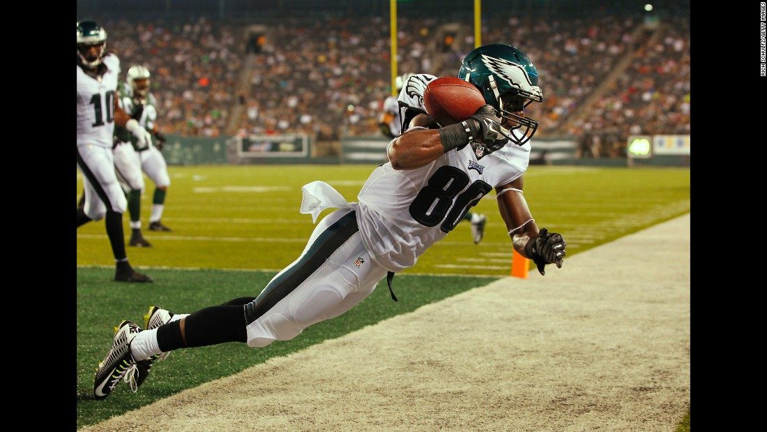 Freddie Martino hauls in a touchdown catch for the Philadelphia Eagles during an NFL preseason game in East Rutherford, New Jersey, on Thursday, September 3.
