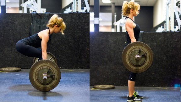 A deadlift is a hinging movement that promotes strength in your posterior chain (the back of your legs, glutes and back). Make it a goal to deadlift body weight for five repetitions.