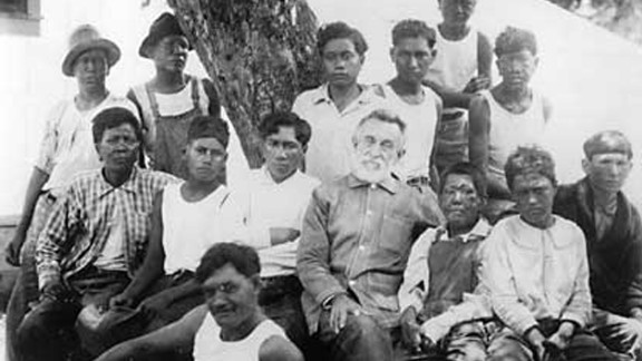 Joseph Dutton worked as a missionary at Kalaupapa in the 19th century, and is pictured with patients. Until 1969, Hawaiian law allowed people with leprosy to be forcibly taken to the settlement.