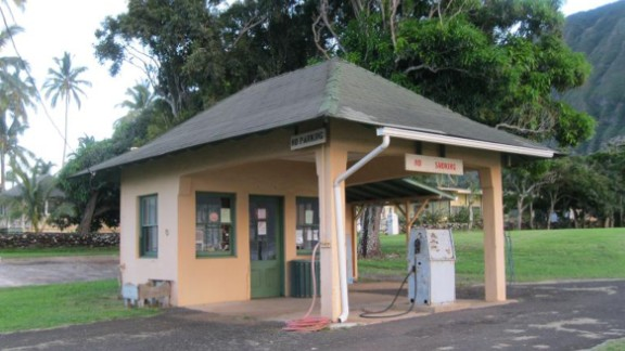 The gas station at Kalaupapa was built in the 1930s. Residents are allowed seven gallons of gas per week.
