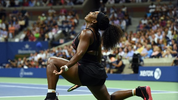 Serena Williams of the U.S. reacts as she takes on her sister Venus during their 2015 U.S. Open women