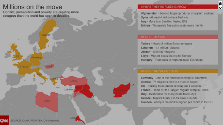 Refugee Camps Around The World Map.Syrian Refugees Which Countries Welcome Them Cnn