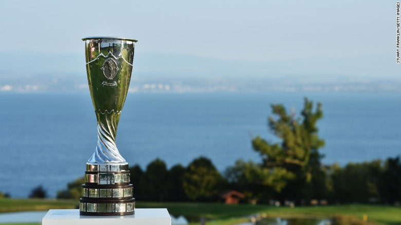 The Evian Championship trophy is seen prior to the start of the tournament in Evian-les-Bains, France.