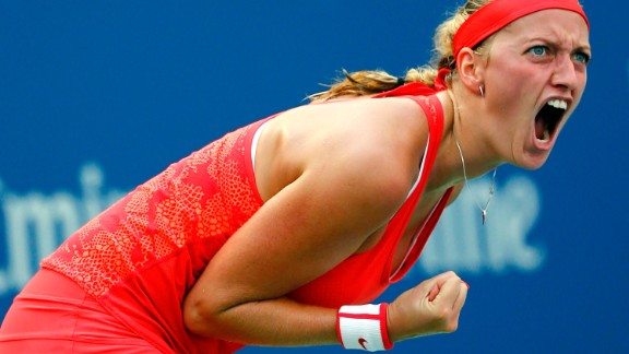 NEW YORK, NY - SEPTEMBER 09:   Petra Kvitova of Czech Republic reacts against  Flavia Pennetta of Italy during their Women