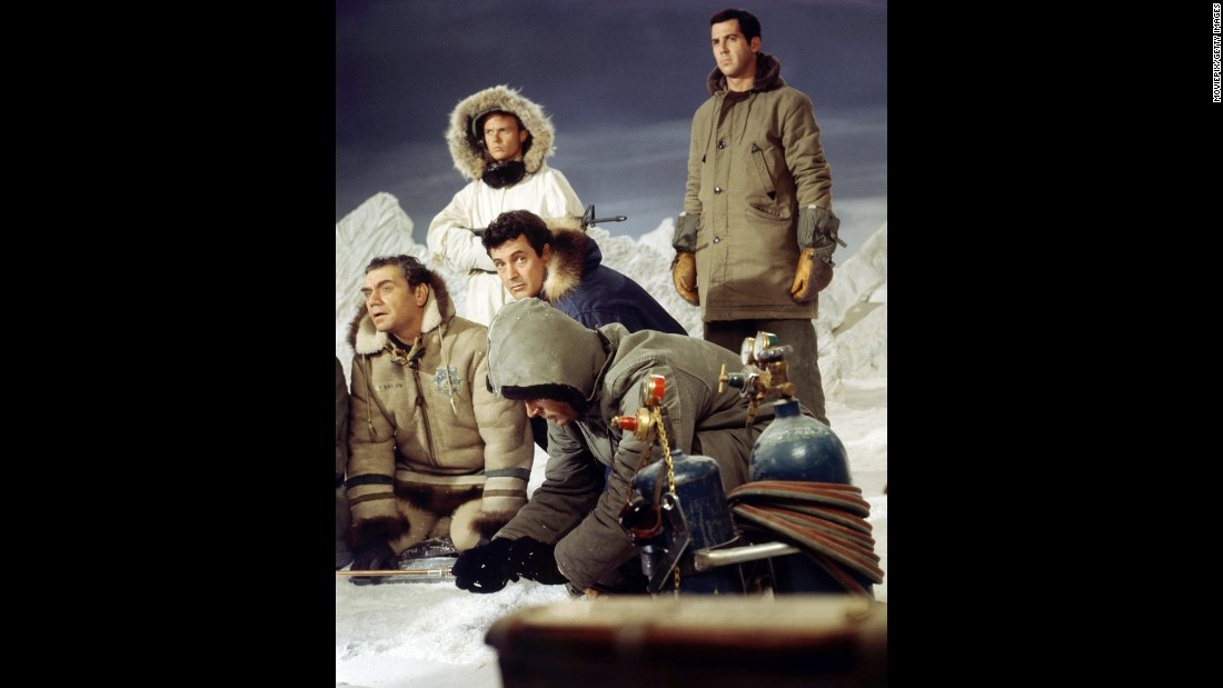 """Ice Station Zebra"" (1968) helped slow the decline of Hudson's movie career. He played the Navy commander of a nuclear submarine headed to the North Pole to rescue an endangered scientific weather station. Slammed by critics, the Cold War-era adventure flick nevertheless was reportedly one of the star's favorites. And reclusive billionaire Howard Hughes also apparently was fond of ""Ice Station Zebra."" Ernest Borgnine, far left, co-starred as a Russian defector!"