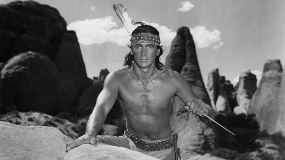 "Shortly before becoming a major star, Hudson made a less than convincing Native American in ""Taza, Son of Cochise"" (1954), donning a black wig and wearing dark makeup. The brazen miscasting in this Western was typical of many of his early mediocre movies, which relied heavily on his strapping 6-foot-4 physique. Shirtless photos of Hudson dominated fan magazines in the early '50s -- so much so that he became known as ""the Baron of Beefcake."""
