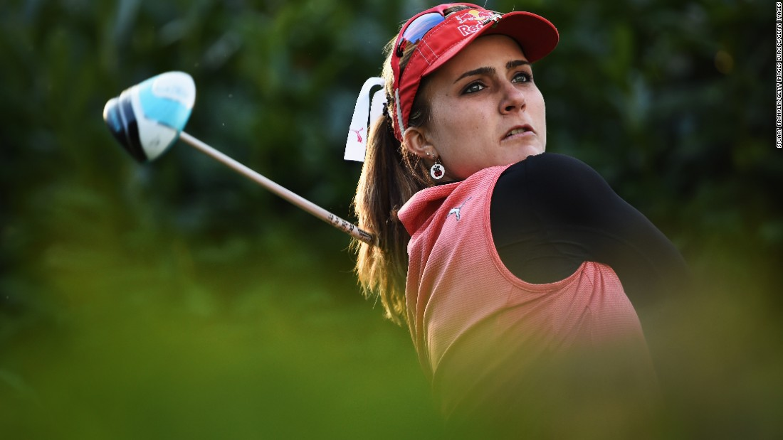 Joint first-round leader Lexi Thompson hits a tee shot on Thursday. The American carded a 66 to finish on five under par.