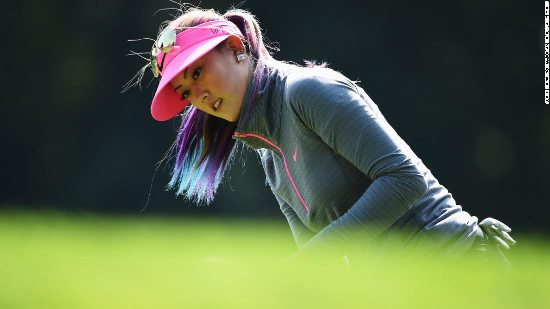 American Michelle Wie plays a shot during a disappointing opening round of 75.