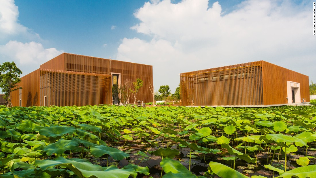 "The design is a modern take on traditional Buddhist temples, and embodies Zen ideas of emptiness and anatta, or the denial of a self. Its poetic name is a nod to its location ""floating"" in a wetland park in southwest China, as well as Buddhists concepts of cause, effect, completeness and incompleteness, which resemble the physical form of a moon.<br />"