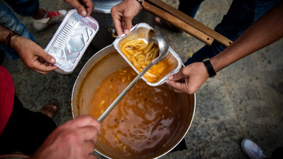 Local relief agencies work to feed the migrants before they make their onward journey. The U.N. says approximately 50 boats of migrants land on Lesbos each day, depositing from 1,500 to 3,000 new immigrants.