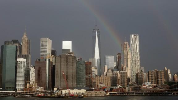 A rainbow appears over New York's One World Trade Center on Thursday.