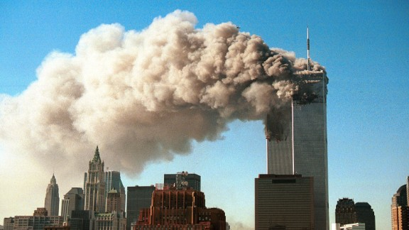 SEPTEMBER 11, 2001: Smoke pours from the twin towers of the World Trade Center after they were hit by two hijacked airliners in a terrorist attack.