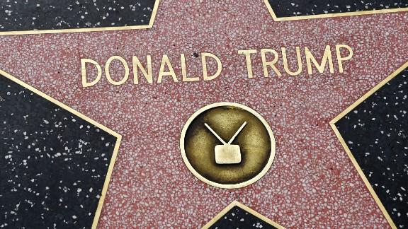 Republican presidential candidate frontrunner Donald Trump's star on the Hollywood Walk of Fame in seen, September 10, 2015 in Hollywood, California. Trump was awarded the star in 2007 in the television category.   AFP PHOTO / ROBYN BECK        (Photo credit should read ROBYN BECK/AFP/Getty Images)