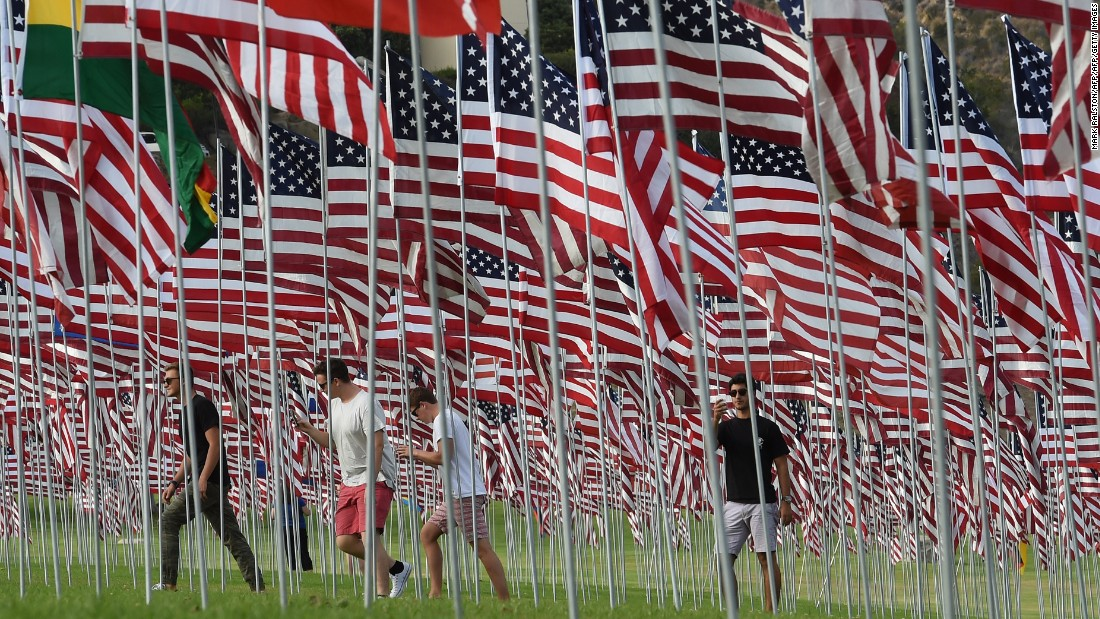 Some 3,000 flags erected by Pepperdine University students and staff honor the victims of 9/11 on the Malibu, California, on September 10.
