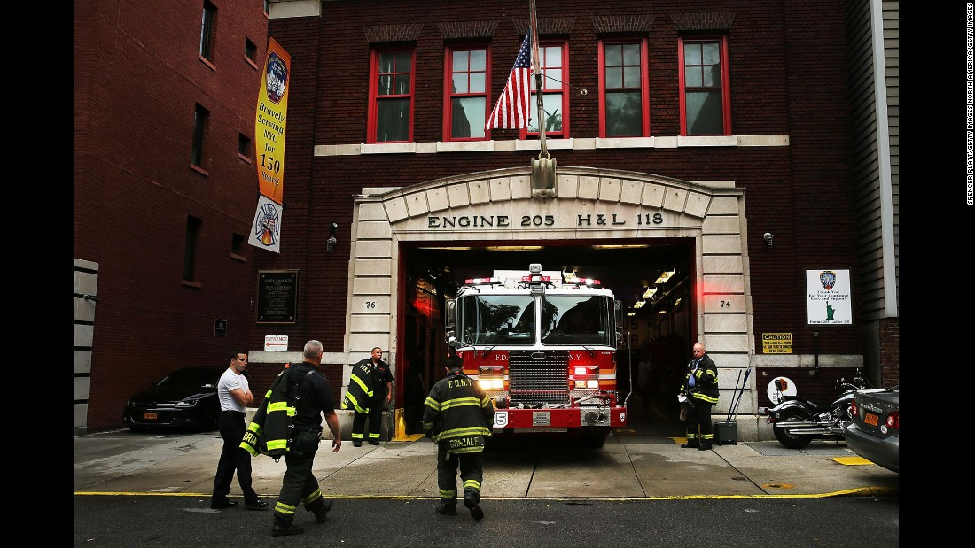 Engine Company 205/Ladder Company 118 in New York's Brooklyn Heights remember the eight firefighters it lost on 9/11, including six who died in their firetruck under the rubble.