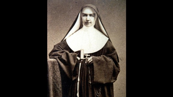 """St. Marianne Cope was born Barbara Koob in 1838 in West Germany, but her family moved to the United States when she was an infant. She joined the Sisters of St. Francis in her early 20s and received the name """"Sister Marianne."""" She is best known for her work with people afflicted with leprosy in Hawaii. She died in Hawaii in 1918."""