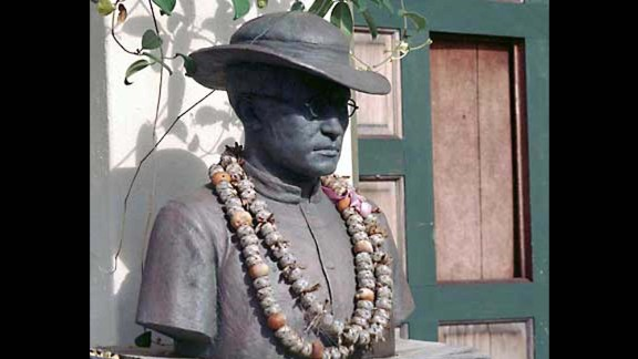 This is a statue of St. Damien de Veuster of Moloka'i, who was best known for his work with people suffering with leprosy in the Hawaiian islands. The Belgian-born priest ended up in Hawaii as a replacement for his brother, also a priest, who had been assigned to a mission in Hawaii but subsequently became too ill to travel. Upon arriving, the young priest offered to stay in the leper colony at Moloka'i permanently to help by building schools, hospitals, churches and coffins, according to the U.S. Conference of Catholic Bishops website. He worked closely with St. Marianne Cope. St. Damien ultimately contracted leprosy and died in 1889 at age 49. He is Hawaii's patron saint.