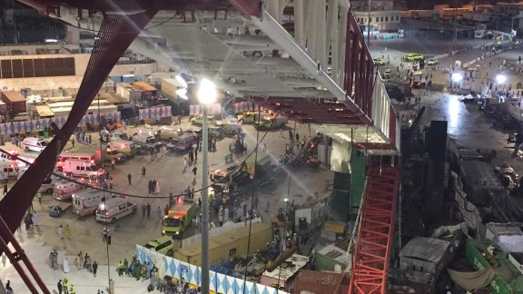 In this image released by the Saudi Interior MinistryÕs General Directorate of Civil Defense, a collapsed crane and emergency services vehicles are seen near the Grand Mosque in Mecca, Friday, Sept. 11, 2015. The accident happened as pilgrims from around the world converged on the city, Islam's holiest site, for the annual Hajj pilgrimage, which takes place this month, killing dozens. The civil defense authority announced the collapse and a series of rising casualty numbers on its official Twitter account. It said 154 people were wounded in the accident. (Saudi Interior Ministry General Directorate of Civil Defense via AP)