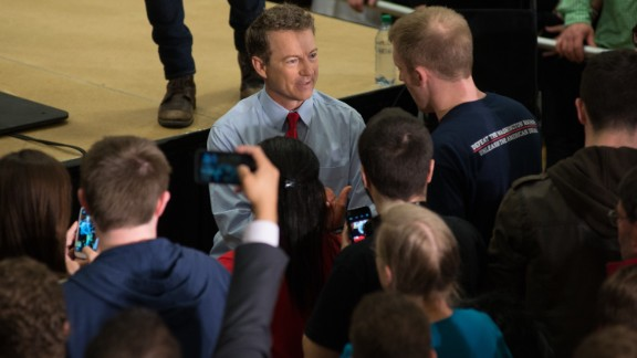 U.S. Sen. Rand Paul (R-KY) and GOP presidential hopeful talks to supporters at the University of Iowa campus on April 10, 2015 in Iowa City, IA.