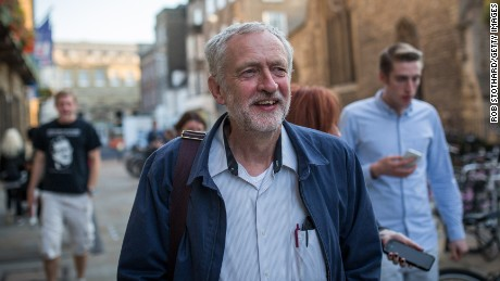 Jeremy Corbyn arrives at a campaign event on September 6 in Cambridge, England.