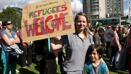Thousands marched in London on Saturday in solidarity with refugees.