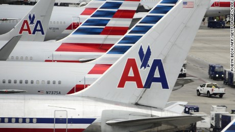 American Airlines passenger planes are seen on the tarmac at Miami International Airport in Miami, Florida, June 8.