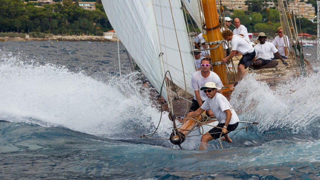 A crew battle to stay above the water in the midst of the 12th Monaco Classic Week.