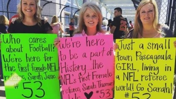 When Sarah Thomas worked her first NFL game as a referee in Septebmer 2015, a few of her fans showed up.
