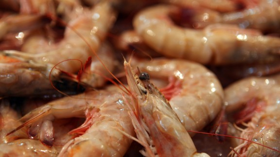 NITEROI, BRAZIL - AUGUST 5: Fresh prawns are displayed at the Mercado São Pedro, the St. Peter's fresh fish market, on August 5, 2009 in Niteroi in Brazil. Stating in its website that fish is a good source of protein, not high in saturated fat, and a good source of omega-3 fatty acids, the American Heart Association recommends eating seafood at least twice a week. (Photo by David Silverman/Getty Images)