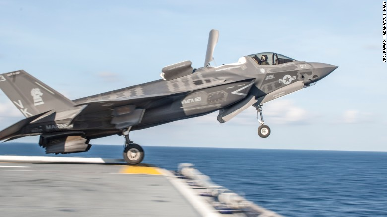 An F-35B takes off from the flight deck of the amphibious assault ship USS Wasp during testing in 2016.