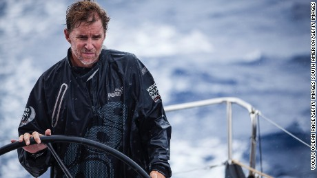 Skipper Ken Read, from the USA, on the helm, onboard PUMA Ocean Racing during leg 6 of the Volvo Ocean Race 2011-12 on May 5, 2012 from Itajai, Brazil, to Miami, USA.