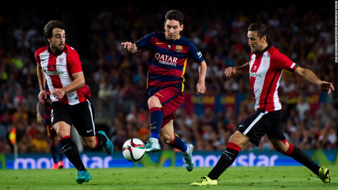 <strong>August 17, 2015: </strong>Messi's goal against Athletic Bilbao was not enough to help his side stage an unlikely comeback in the Supercopa.  Barcelona were bidding to overturn a 4-0 first leg deficit, but the tie ended 1-5 on aggregate.