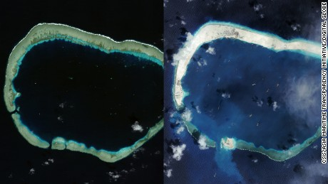 Mischief Reef in the South China Sea in January 2012, left, and in September 2015, right following Chinese land reclamation.